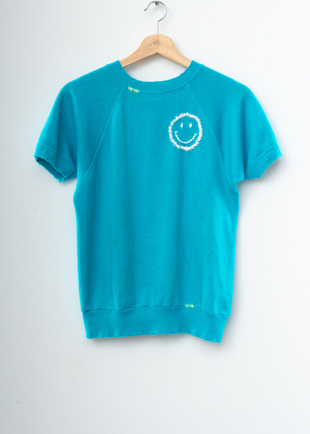 Happy Face Shorty Sweatshirt - Bright Blue