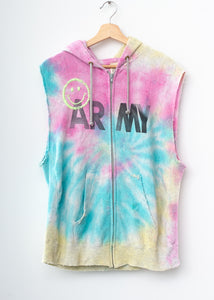 Happy Army Tie Dye Zip Up Vest