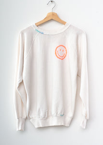Happy Face Sweatshirt - Vintage White