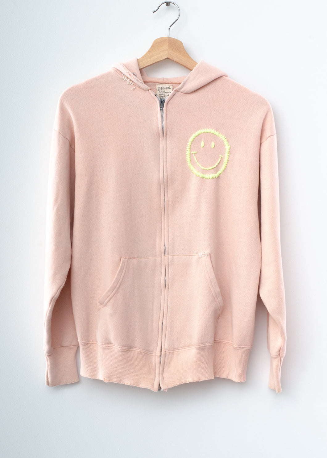 Happy Face Zip-Up - Dusty Light Pink
