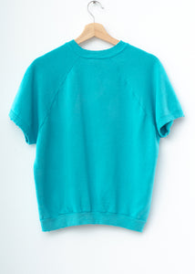 Happy Face Shorty Sweatshirt - Ocean Teal