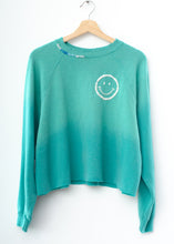 Happy Face Cropped Sweatshirt - Teal Breeze