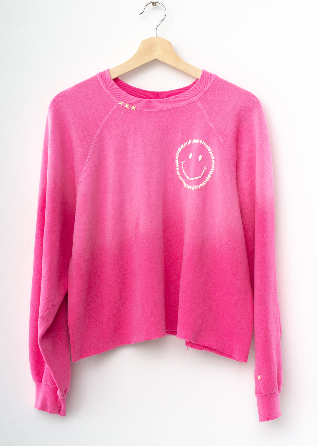 Happy Face Cropped Sweatshirt - Hot Pink