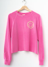 Happy Face Cropped Sweatshirt - Neon Pink