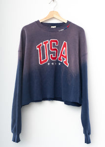 USA Patch Cropped Sweatshirt-Vintage Navy