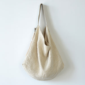 Vintage Linen Tote With Tassel
