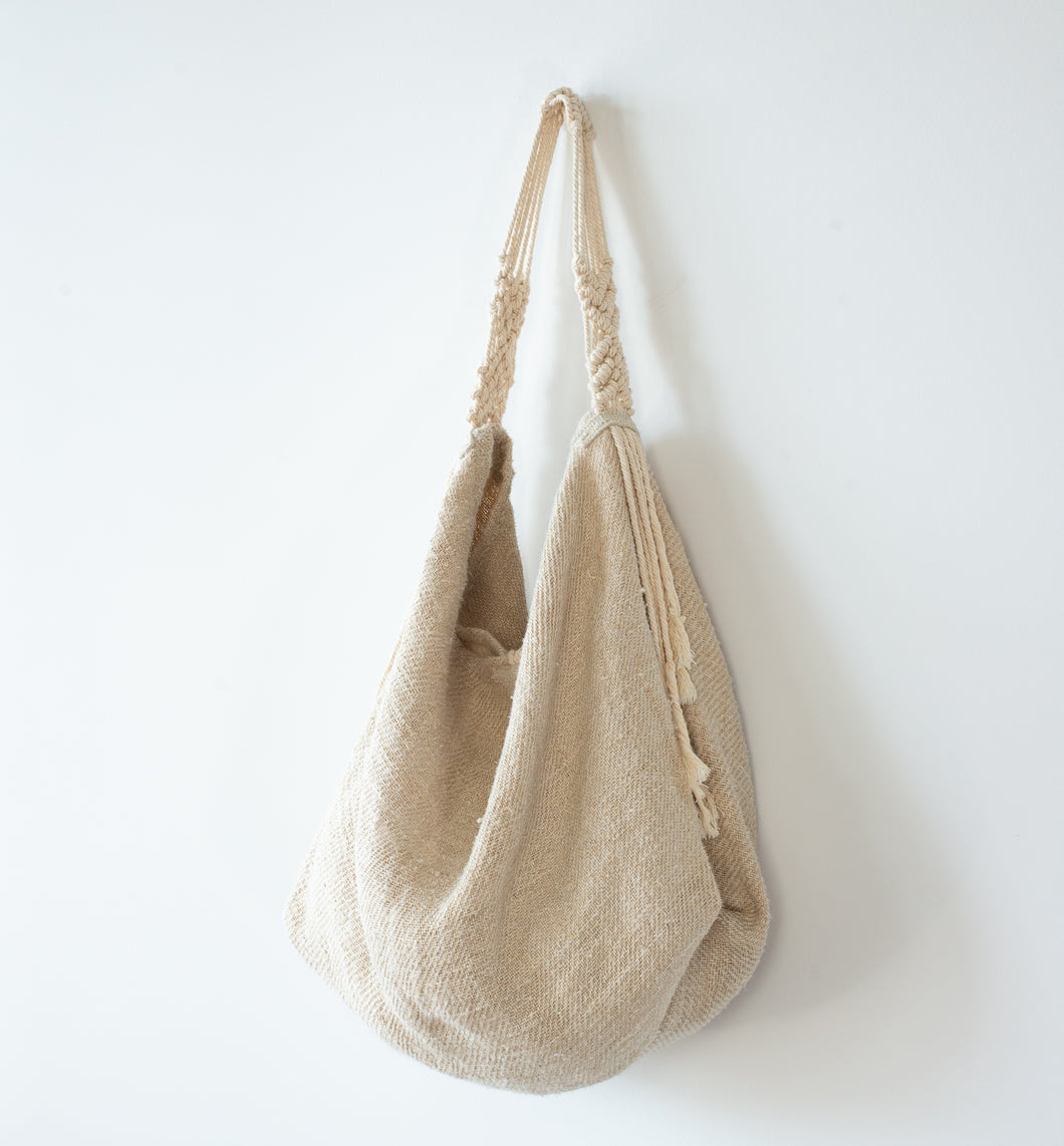Vintage Linen Tote With Macrame Strap