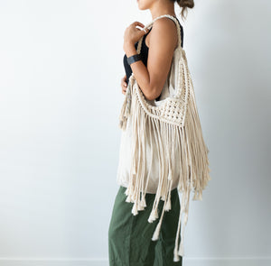Vintage Linen Tote With Macrame Fringes