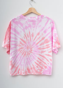 Happy Coachella Swirl Tie Dyed Tee- Pink Dream