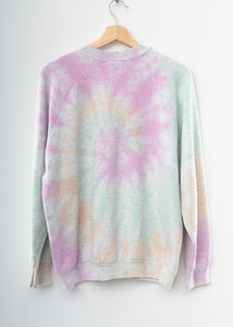 PASTEL SWIRL TIE DYE VINTAGE SWEATS WITH CUSTOM HAND EMBROIDERY