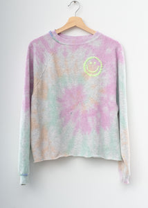 Happy Tie Dye Crop Sweatshirt - Pastel Swirl