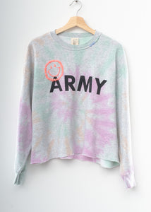 Happy Army Tie Dye Crop Sweatshirt