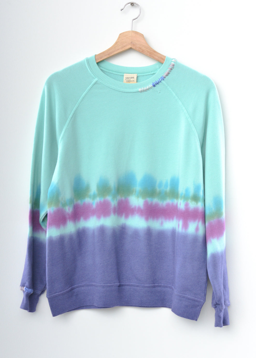Ombre Stitched Tie Dyed Sweatshirt- Mint