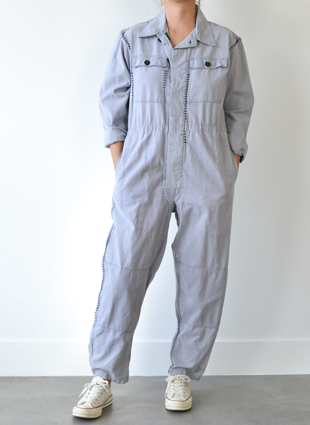 BLANKET STITCH OVER-DYED JUMPSUIT