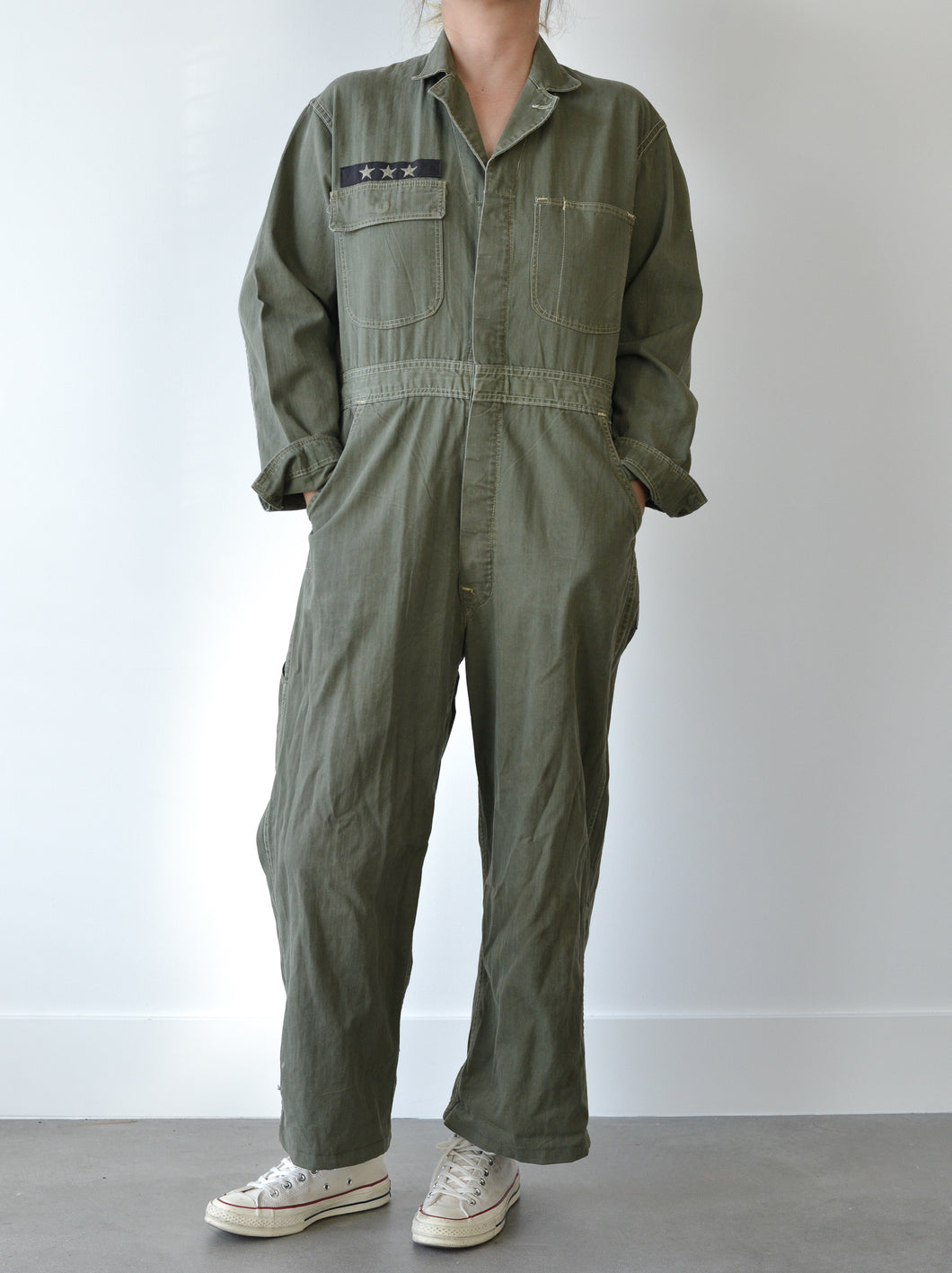 VINTAGE MILITARY JUMPSUIT - PSYCHEDELIC EMBROIDERY