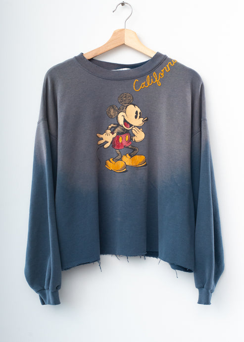 Vintage Mickey & California Embroidery Crop Sweatshirt - Vintage Steel