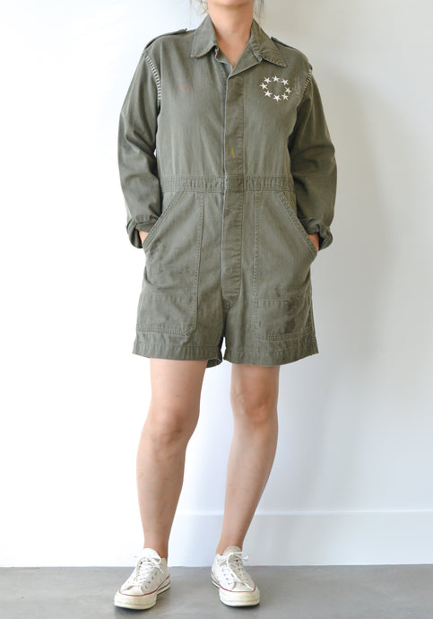BLANKET STITCH MILITARY SHORTS JUMPSUIT