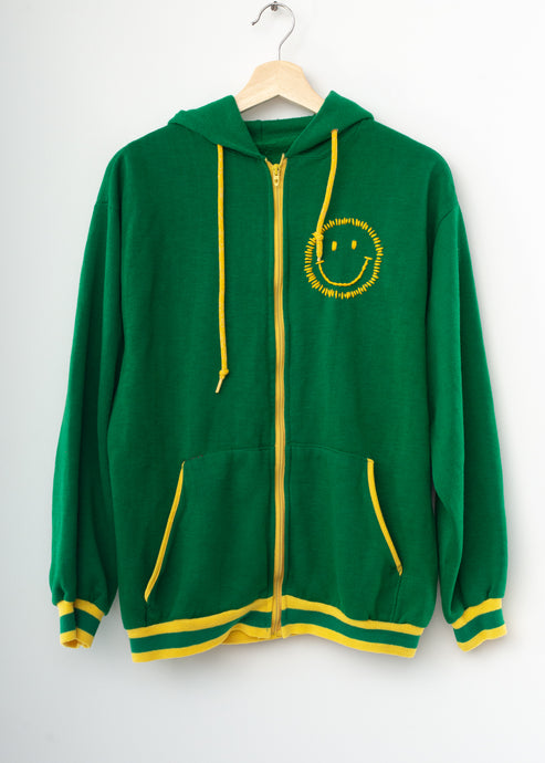 Happy Face Zip-Up - Kelly Green