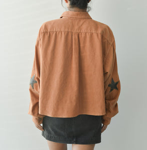 Star Patched Corduroy Cropped Shirt Top - Tosted Nut