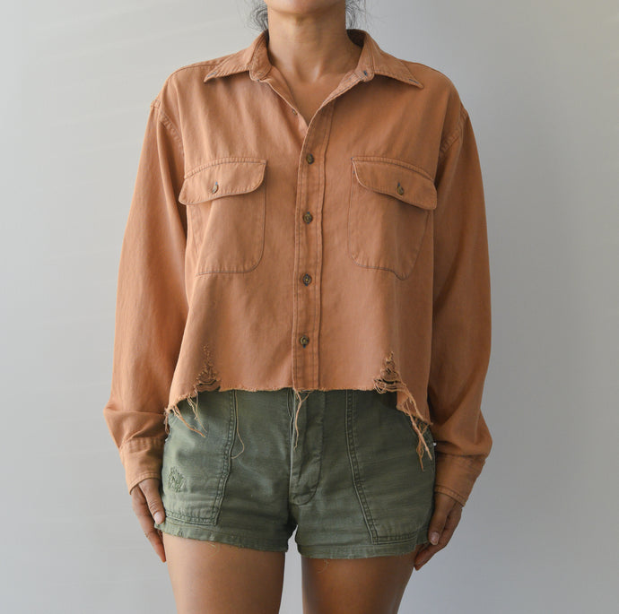 Distressed Bottom Buttondown- Toasted Nut