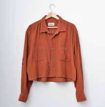 Star Patched Corduroy Cropped Shirt Top - Burnt Orange