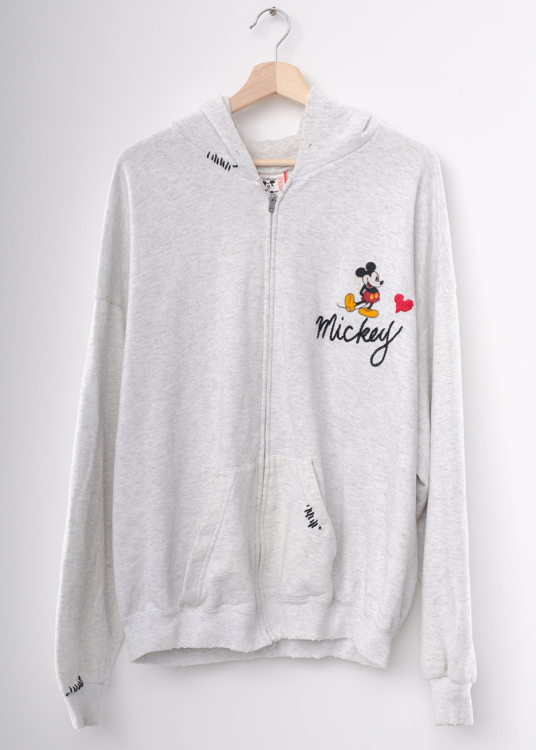 Vintage Mickey ❤️ Embroidery Zip Up Hoodie - Light Grey