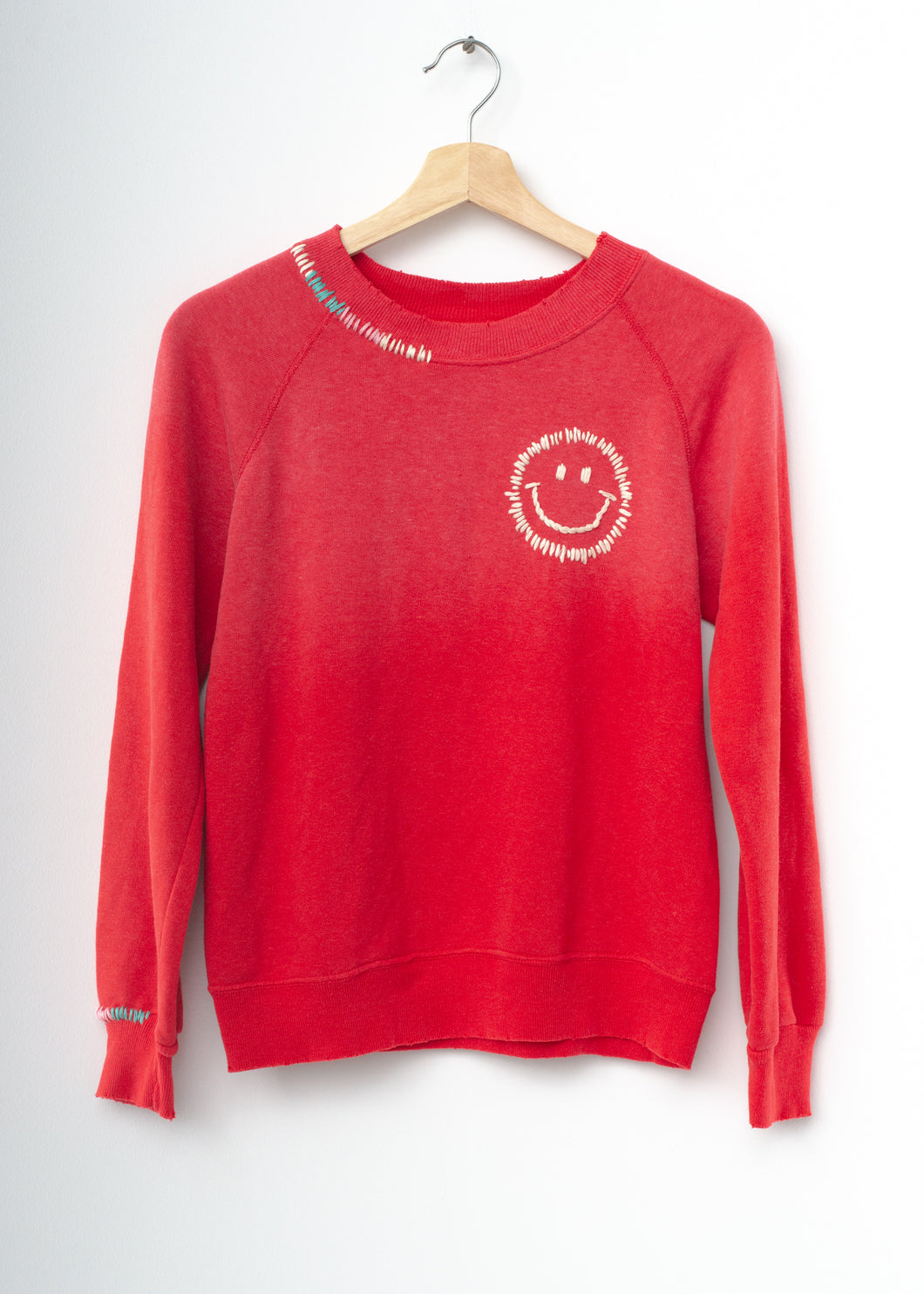 Happy Face Rainbow Sweatshirt - Red