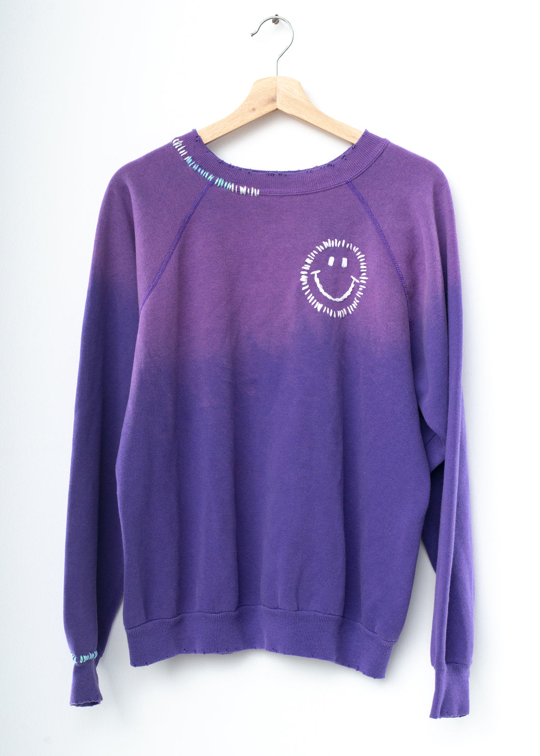 Happy Face Rainbow Sweatshirt - Purple