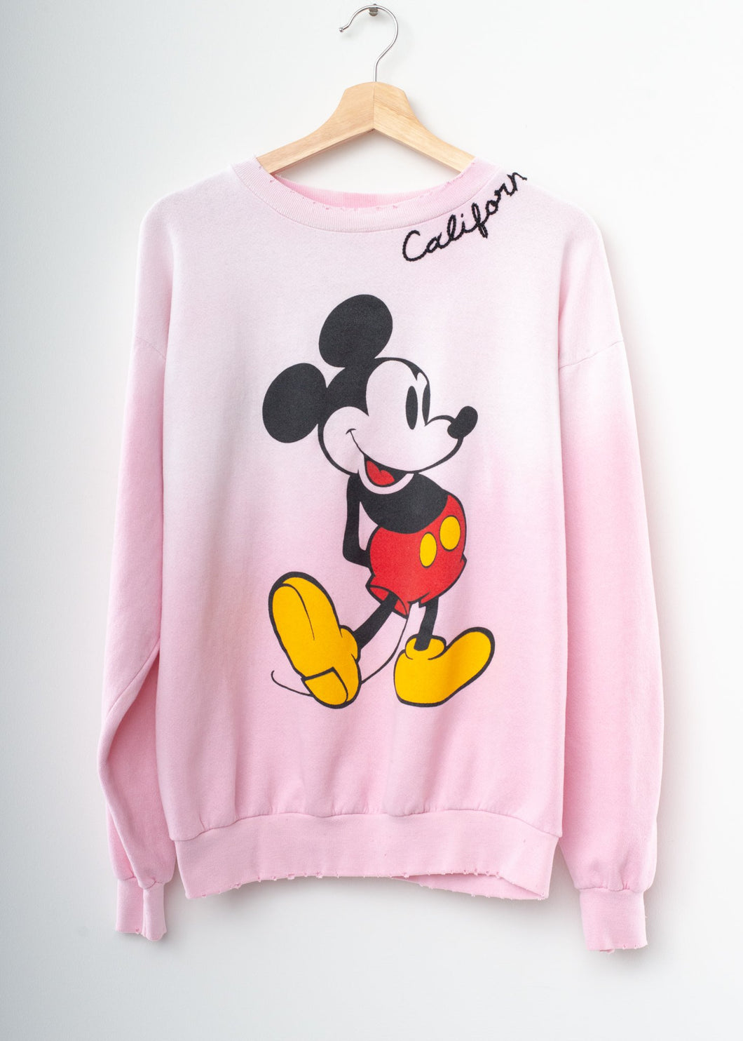 Vintage Mickey Frost Pink Sweatshirt - Customize Your Embroidery Wording