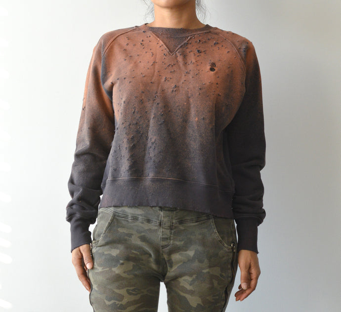 JAMYLA SPECIAL SHOTGUN DISTRESS PULLOVER SWEATSHIRT IN RUSTIC IRON