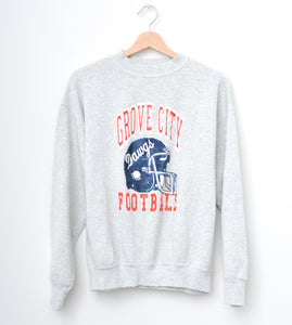"Grove City ""Dawgs"" Football Sweatshirt - Light Gray"