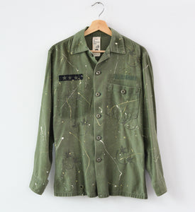 Paint Splatter Allover Smiley Face Embroidered Army Jacket