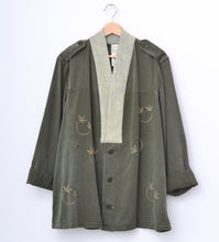 KIMONO INSPIRED SMILEY FACE EMBROIDERY VINTAGE ARMY JACKET