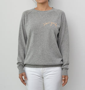 New York Cashmere Oversized Round Neck - Grey Heather