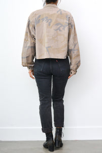 Suede Star Patch Cropped Army Jacket - Toasted Almond