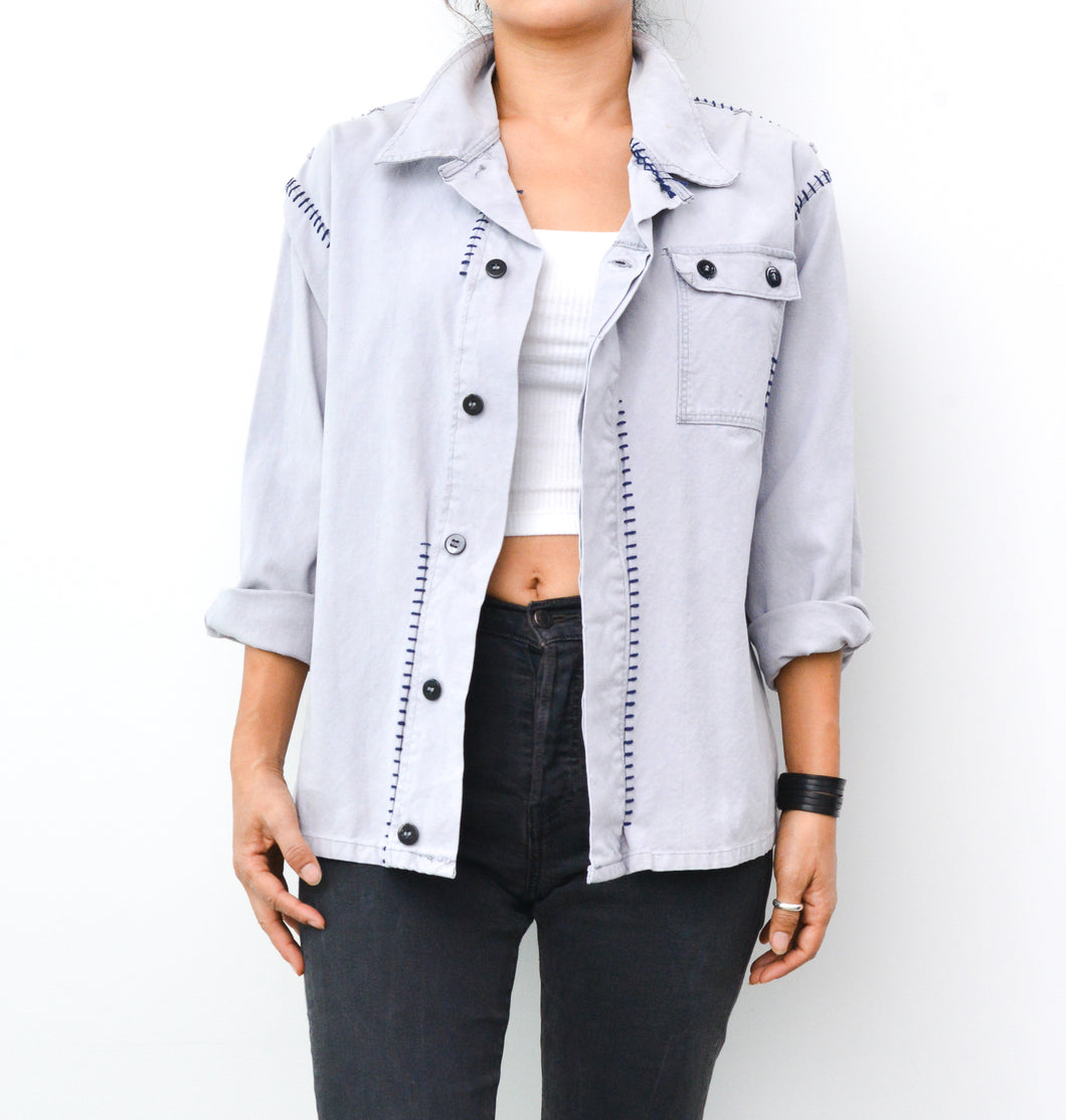 Blanket Stitch French Worker Jacket - Gray Dawn