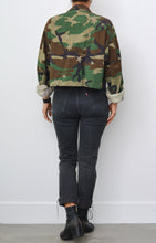 Star Embroidery and Studded Camo Cropped Army Jacket
