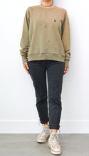 JAMYLA SPECIAL SHOTGUN DISTRESS PULLOVER SWEATSHIRT IN SAGE GREEN