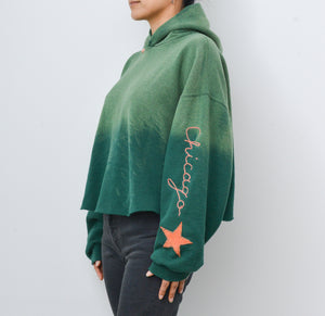 Star Patch Chicago Cropped Hoodie - Nature Green
