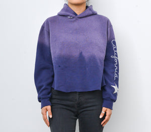 Star Patch California Cropped Hoodie -Purple Sky