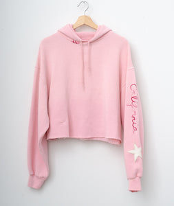 Star Patch California Cropped Hoodie - Cotton Candy