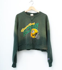 Greenbay Packers Vintage Champion Cropped Sweatshirt - Sea Spray