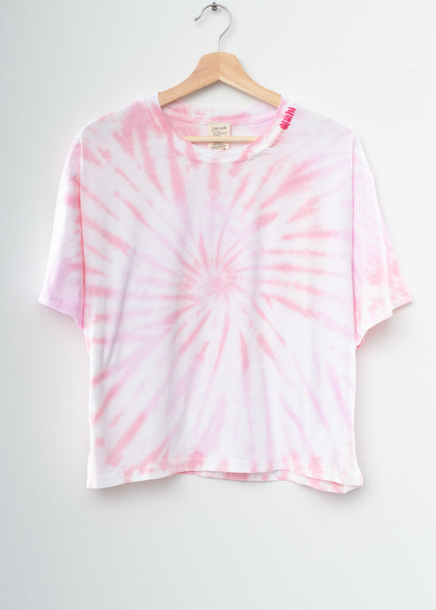 Ombré Stitched Coachella Swirl Tie Dyed Tee- Pink Dream