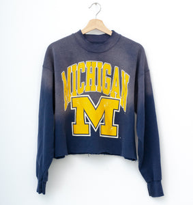 Michigan Wolverines Cropped Sweatshirt - Blue Nights