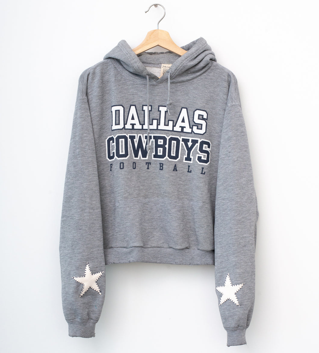 Dallas Cowboys Cropped Hoodie - Glacier Gray