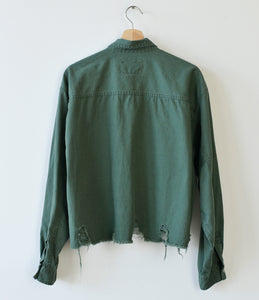 Distressed Bottom Buttondown- Hunter Green