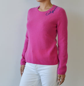 California Cashmere Round Neck -Hot Pink