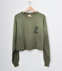 USMC Shotgun Distress Cropped Vintage Sweatshirt
