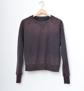 JAMYLA SPECIAL SHOTGUN DISTRESS PULLOVER SWEATSHIRT IN SMOKEY CHARCOAL