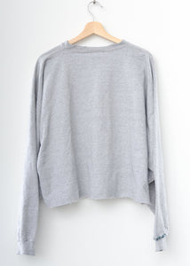 Vintage Mickey Love  Embroidery Crop Sweatshirt - Grey